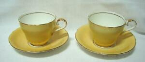 2 x Early AYNSLEY England Yellow Demi tasse coffee cup saucer