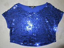 WOMEN'S FOREVER 21 BLUE SPARKLE SEQUINED CROP TOP OFF THE SHOULDER KNIT TOP SMA