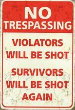 No Trespassing Violators Will Shot Tin Sign Shield 20 X 30 CM FA0753