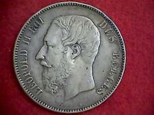 1873 Belgium 5 Francs Leopold II KM#24