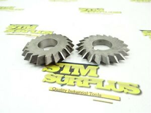 """2 HSS DOUBLE ANGLE MILLING CUTTERS 1"""" BORES 2-3/4"""" DIA 60° & 90° DOALL"""