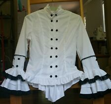 JAPANESE IMPORT lolita cosplay top BODY LINE white, black lace, androgynous