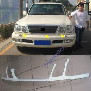 For Lexus LX470 1998-2002 Front Bumper Headlight Trim Under Mesh Primer 3pcs/set