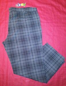 Mens Nike Golf Pants 42X30 GRAY Black PLAID CHECK Polyester SPANDEX STRETCH EUC!