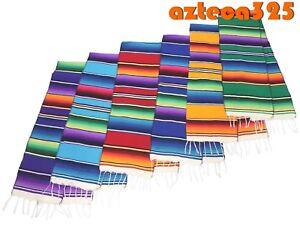 "Large Woven Mexican Sarape Zarape Table Runner 12"" Wide 72"" long"