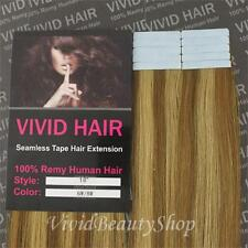 "10pcs 18"" Remy Seamless Tape Skin Weft Human Hair Extensions Light Brown Blonde"