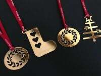 GEORG JENSEN MIXED SET (4) Christmas Decorations 24k GOLD Limited Edition NEW