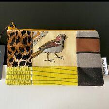 New Vtg 3D 70s Wild Bird Linen Lurex Fabric Makeup Bag Pencil Case Pouch Purse