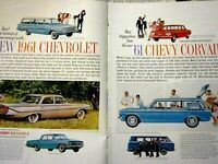 91961 Chevrolet Impala Biscayne Corvair-2 Page Original Print Ad 8.5 x 11 ""