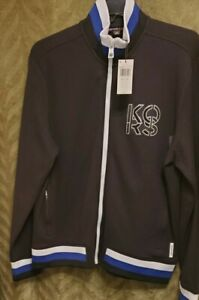 Michael Kors Men's Black Full-Zip MK Logo Track Sweater Jacket 2XL $198