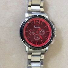 GENEVA MEN'S OVERSIZE WATCH ROUND RED DIAL DESIGNER STYLE HIGH QUALITY NICE GIFT
