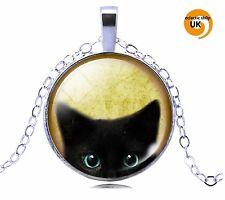 Lindo Gato Ojos De Gatos Tono Plata cabujón semicirculares Collar De Cristal Colgante libre post!