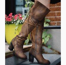 FREEBIRD by STEVEN $395 TAN Suede Brock Over-the-Knee Women's Boots SZ 8,