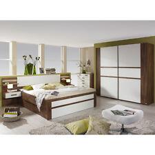 Schlafzimmer Set BERNAU Bett Nako Schwebetürenschrank in Eiche Stirling und weiß