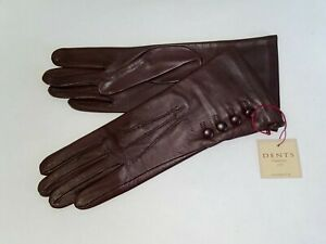 Genuine Dents leather gloves - Silk lined with 4 Button detail - Bordeaux
