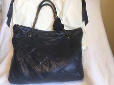 100 % Authentic Lanvin Black Large Quilted Leather Shoulder Bag