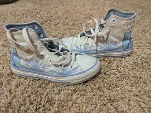 Girls toddler size 12 white Frozen Elsa high top Converse shoes