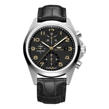 GLYCINE Watch 3924.19AT-LBK7F Men's Combat Chronograph Automatic Leather Black
