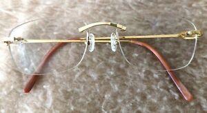 Authentic CARTIER Rimless Frameless GOLD PLAQUE 140 20 Prescription Glasses RARE