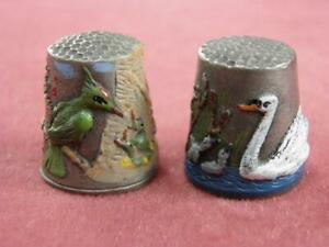 TWO LM PEWTER HAND PAINTED THIMBLES WOODPECKER & SWAN CYGNETS MADE IN ENGLAND