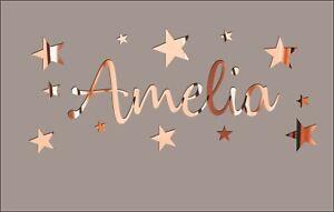 Name Wall Sticker Personalised Bedroom ROSE GOLD Art Bedroom Kids Bedroom STARS
