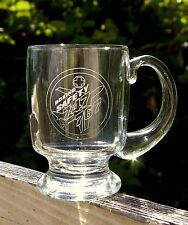 Boeing Safety Green Cross Logo 747 767 Airplane Clear Etched Drinking Glass Mug