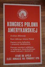 "Original 1969 Polish - American Congress Poster 14"" x 24"" Cold War Propaganda"