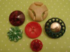 6 Selected Vintage Buttons Jewellery Scrapbook Handbag Quilt Sew Doll Bear