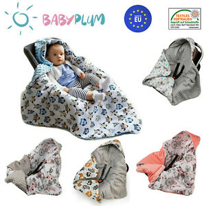 Babydecke MINKY mit Kapuze 90x90 cm Einschlagdecke Babyschale Kinderwagen Decke
