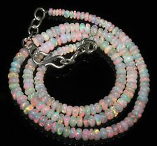 """45 Carat 16"""" 3 to 4.5mm Natural Ethiopian Welo Fire Opal Beads Necklace -EB88404"""