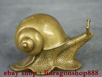 """4.8 """"Vieux Chinois Cuivre Feng Shui escargot Escargot Réaliste Statue Sculpture"""