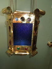 American, Early 20th c, Oil, Brass, Hanging Lamp