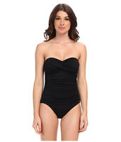 LA BLANCA CORE SOLID BANDEAU ONE PIECE SHIRRED SWIMSUIT BLACK SIZE 10 NEW! $109