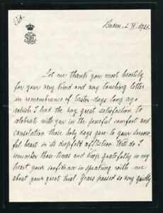 FINE LETTER & ENVELOPE GRAND DUCHESS LOUISE OF BADEN TO LADY O'CONOR 1921