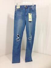 Women's Boohoo Grace Busted Knee Skinny Jeans Blue Limits Edition Size 6 NWT