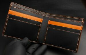 Men's Bifold Wallet Card Holder Handmade Buttero Leather Italy Black & Caramel