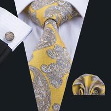 UK Classic Paisley Floral Mens Tie Gift Gold Yellow SIlk Necktie Set Cufflinks