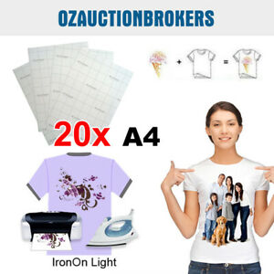 20 sheets A4 Iron Heat Transfer Paper For Light Cotton T-shirt