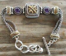 RARE Brighton 2 Tone FLOWER And 2 Purple Stones Bracelet