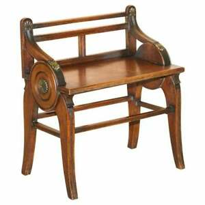 ANTIQUE JAS SHOOLBRED HALL BENCH WITH BRASS MOUNTS & WALNUT FRAME CIRCA 1890