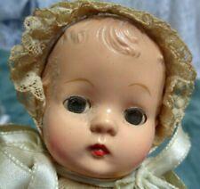 "Vtg Antique Hard Plastic Krueger Nyc Sm 8"" Doll Open Close Eyes Clothes Restring"