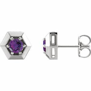 Amethyst Geometric Earrings In Platinum