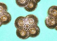 "Set 10 Vintage new Antiqued Gold tone Buttons FANCY FLOWER 1 & 1/4"" LARGE"