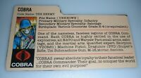 1982 GI Joe Cobra Soldier Bubble Red Back File Card JC Penney Set Mortar Bazooka