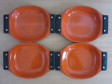 """Set of 4 Catherine Holm Holland Orange Handled Serving Dishes / Pans 9.5"""""""