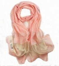 New Fashion Women's Pink Real 100% Silk Solid Long Scarf Shawl Wrap Scarves