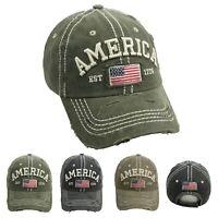 AMERICA Baseball Cap US FLAG Distressed Vintage Sun Hat Cotton Visor Outdoor