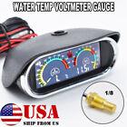 Car Voltmeter Temp Alarm W Sensor 18 Water Temperature Gauge Horizontal
