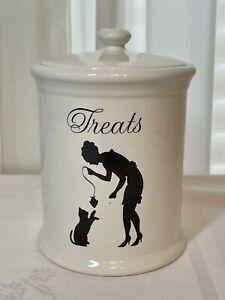 """Ceramic Cat Treat Jar With Lid 6.5"""""""