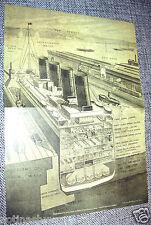 TITANIC Sketch Plans Decks Dock Ship Boat Sea Ocean Illustration Design Interior